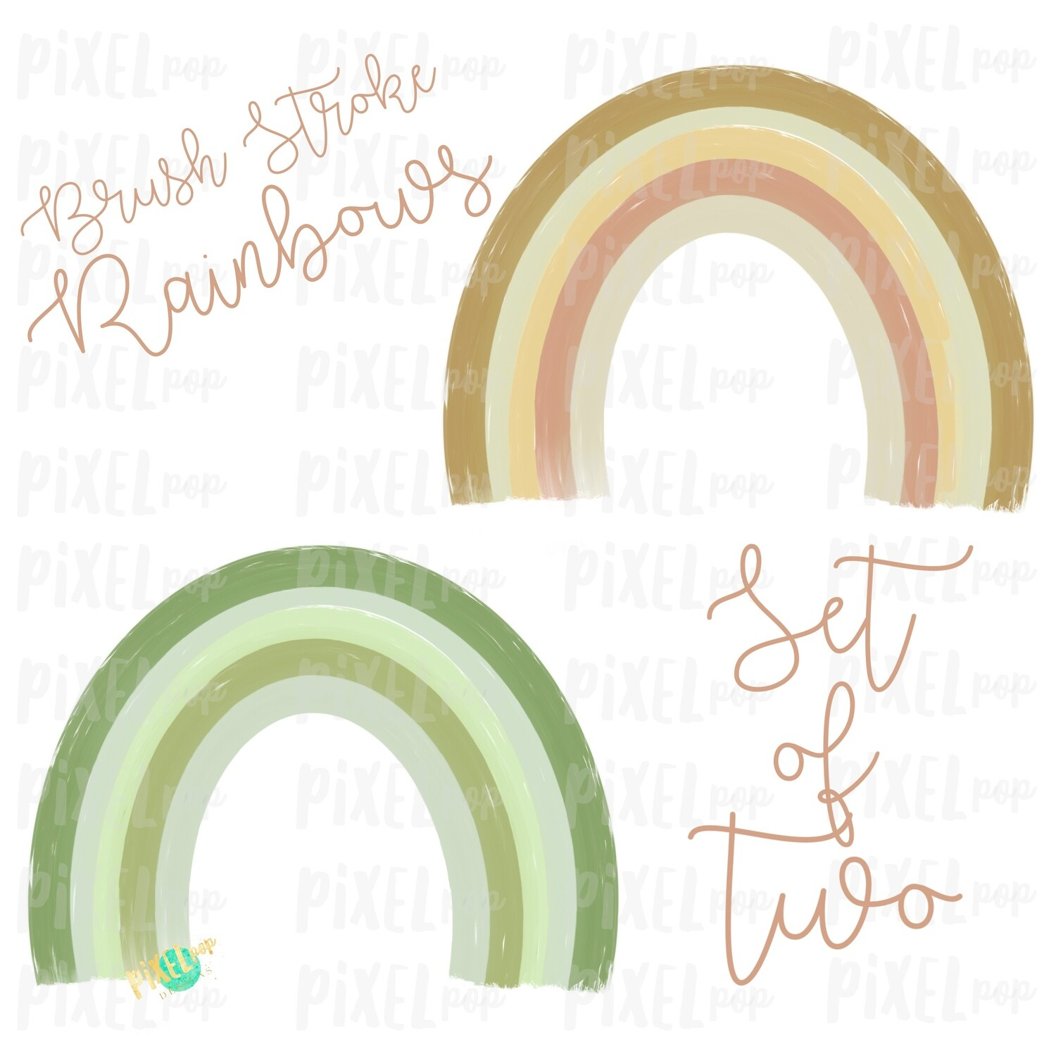 Brush Stroke Rainbows Set of Two Green Gold Sublimation PNG   Hand Drawn   Sublimation   Miscarriage Infant Pregnancy Loss   Digital Download