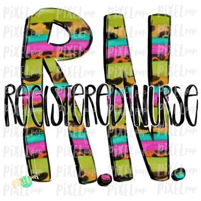 Registered Nurse RN BRIGHT PNG Design | Sublimation | Hand Drawn Art | Medical Therapist PNG | Medical Clipart | Digital Download | Art