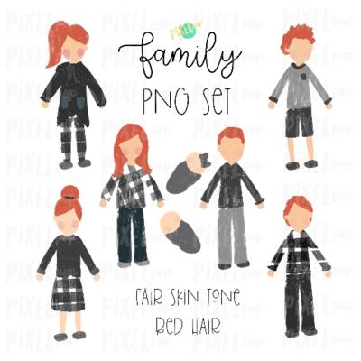Fair Skin Red Hair Stick People Figure Family Members PNG Sublimation | Family Ornament | Family Portrait Images | Digital Portrait | Art