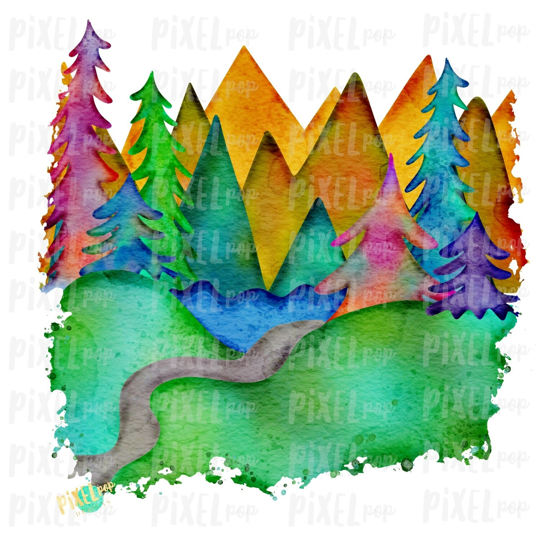 Watercolor Forest Woods Art ORIGINAL Sublimation Transfer Design PNG | Hand Drawn Art | Sublimation PNG | Digital Download | Printable Art