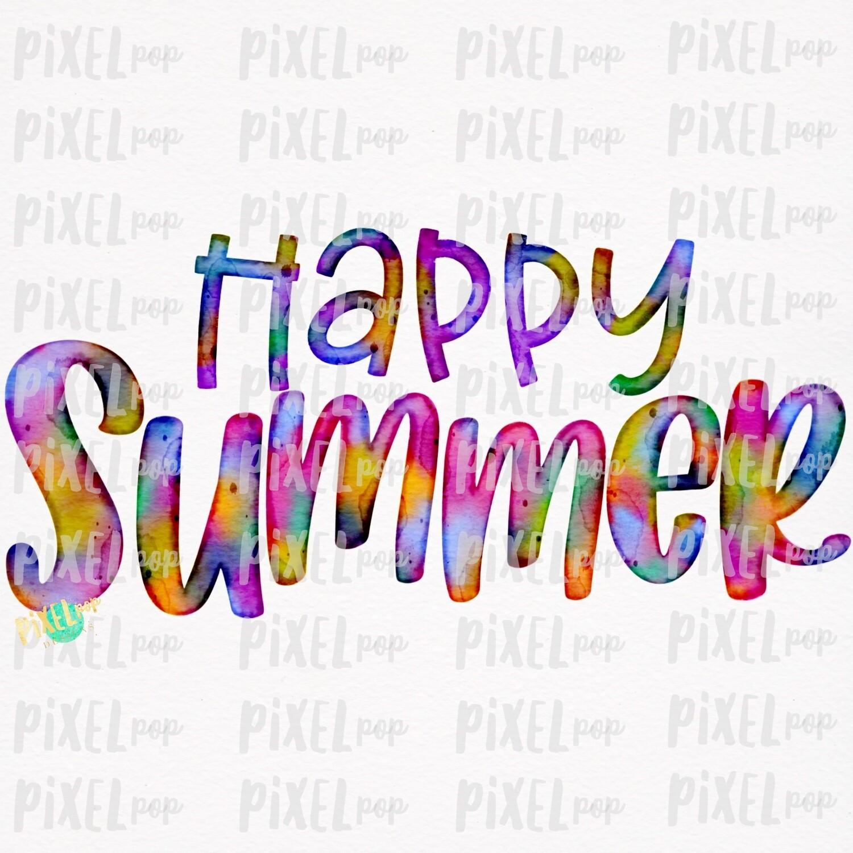 Happy Summer Watercolor Sublimation Design PNG | Hand Drawn PNG | Sublimation PNG | Digital Download | Printable Art | Summer Seasons Art