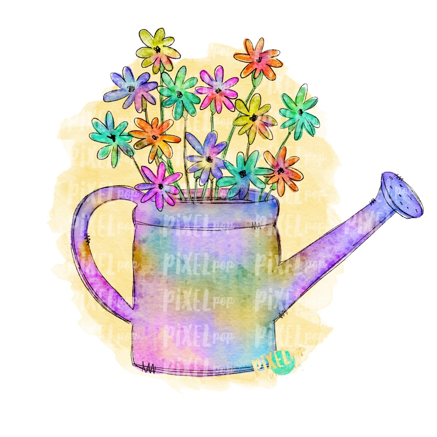 Gardening Watering Can Watercolor Sublimation PNG | Spring PNG | Design | Heat Transfer PNG | Digital Download | Printable Art