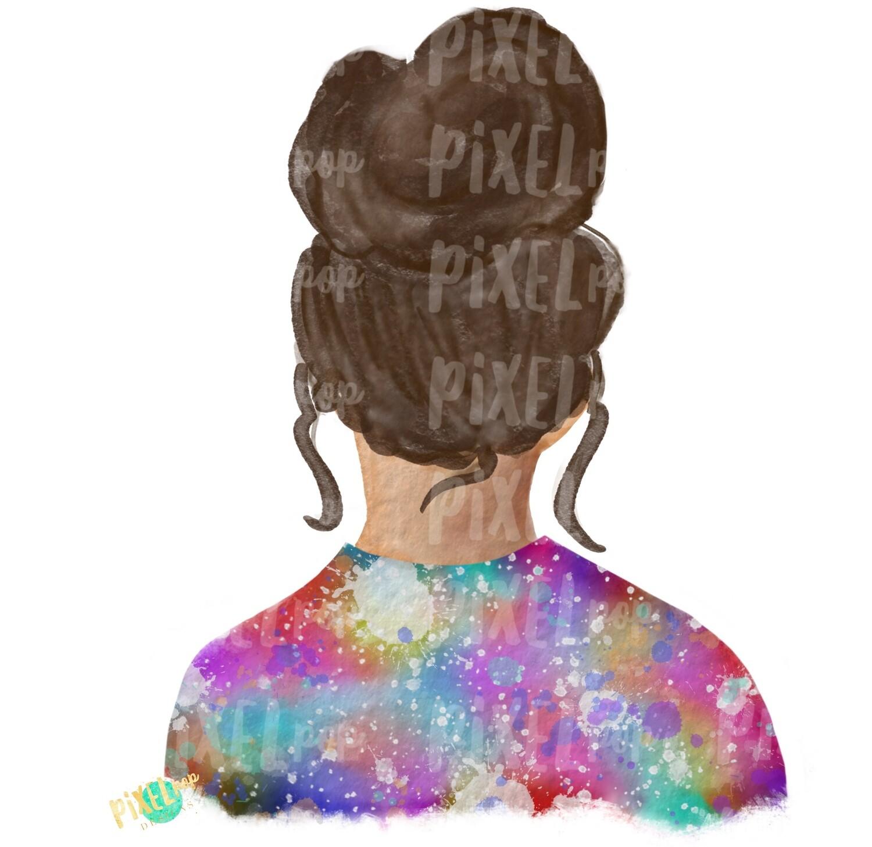 Bun Girl Brown Tie Dye Shirt Sublimation PNG | Sublimation Design | Hippie Girl | Digital Download | Printable Art
