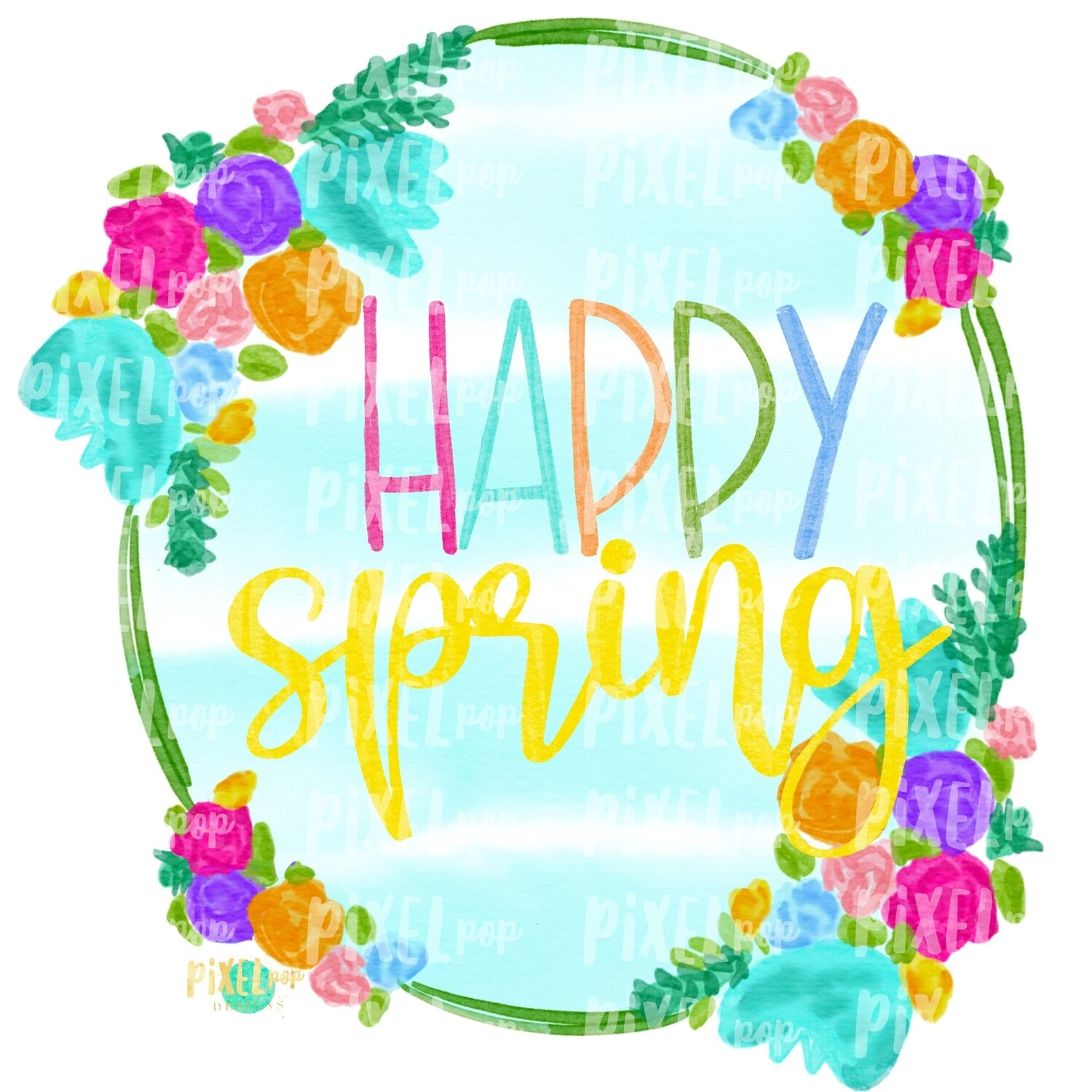 Happy Spring Watercolor Floral Striped Wreath Sublimation PNG   Digital Painting   Spring Flowers   Flower Wreath   Watercolor Floral Art