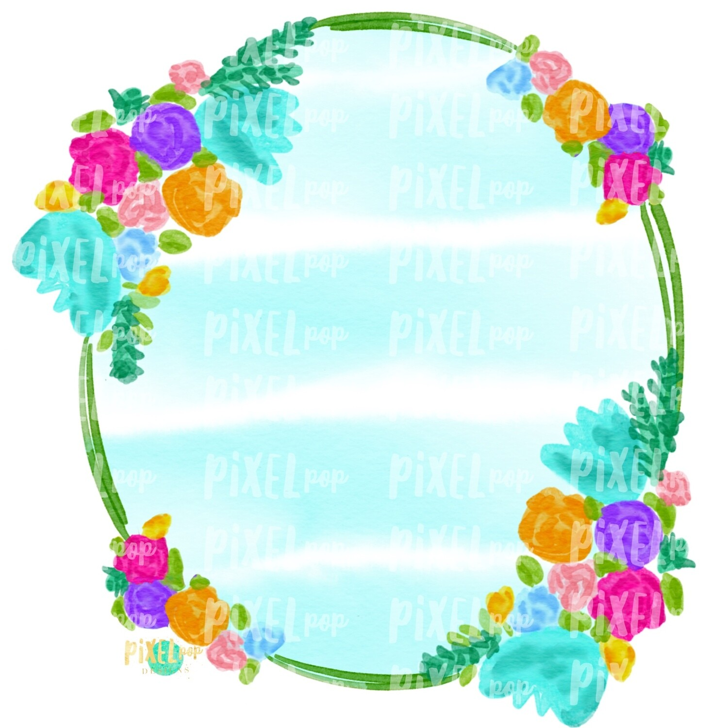 Watercolor Floral Striped Wreath Sublimation PNG | Digital Painting | Spring Flowers | Flower Wreath | Watercolor Floral Art