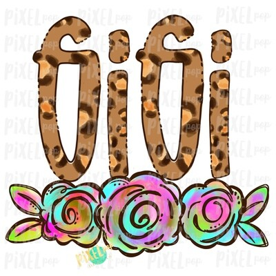 Gigi Leopard Print Rainbow Flowers PNG | Mother's Day Sublimation Design | Hand Painted PNG | Digital Art | Printable Art | Clip Art