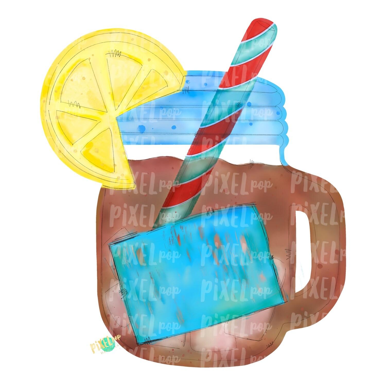 Tea in Mason Jar Watercolor PNG   Sublimation   Print and Press   Mason Jar Tea Design   Printable   Digital Download   Sweet Tea Clip Art   Hand Painted Digital Art