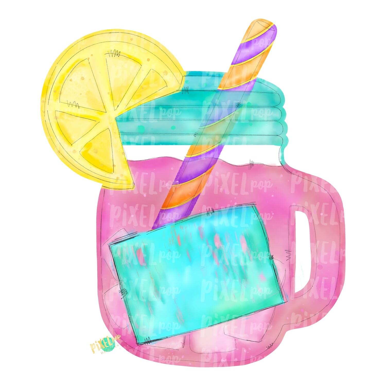 Pink Lemonade in Mason Jar Watercolor PNG   Sublimation   Print and Press   Pink Lemonade Design   Printable   Digital Download   Lemonade Clip Art   Hand Painted Digital Art