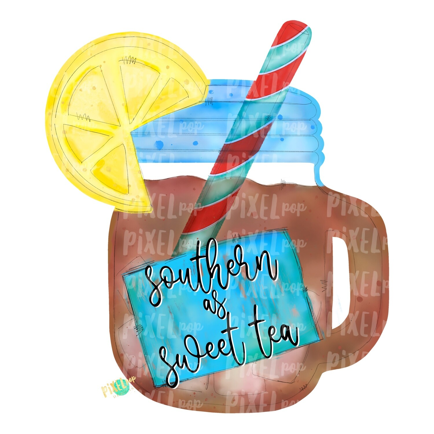 Southern as Sweet Tea Watercolor PNG | Sublimation | Print and Press | Mason Jar Tea Design | Printable | Digital Download | Sweet Tea Clip Art | Hand Painted Digital Art