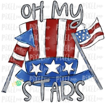 Oh My Stars Patriotic Hat Flag Firecracker PNG | July 4th Design | Flag Art | Sublimation Art | Digital Download | Printable Art | Clip Art