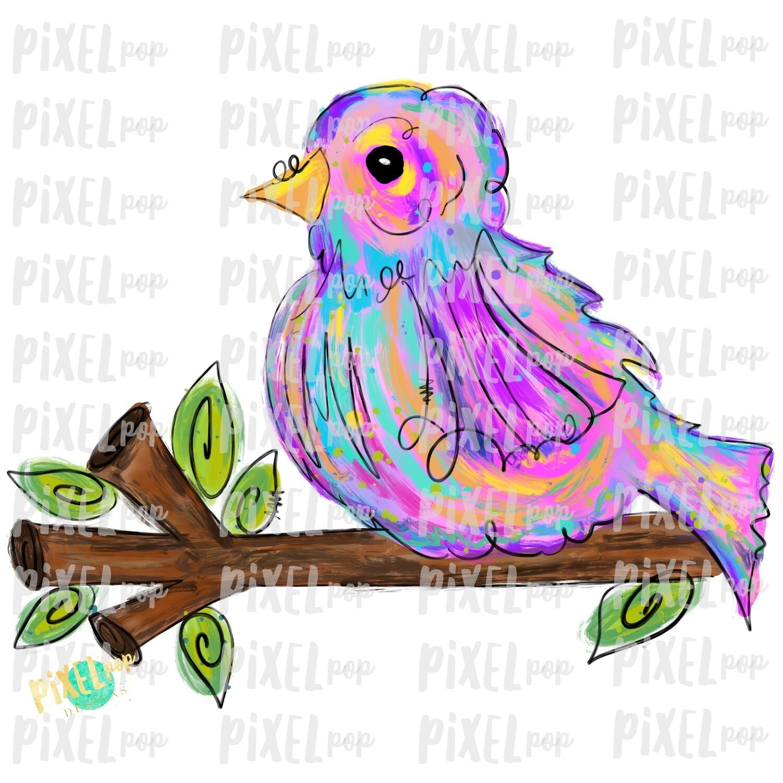 Colorful Bird on Branch PNG | Sublimation Digital Design | Hand Painted Bird | Watercolor Bird Digital Download | Printable Art | Clip Art