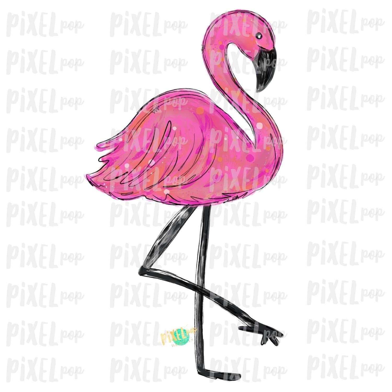 Flamingo Bird PNG   Pink Flamingo Sublimation Design   Hand Painted Bird   Watercolor Bird Digital Download   Printable Art   Clip Art