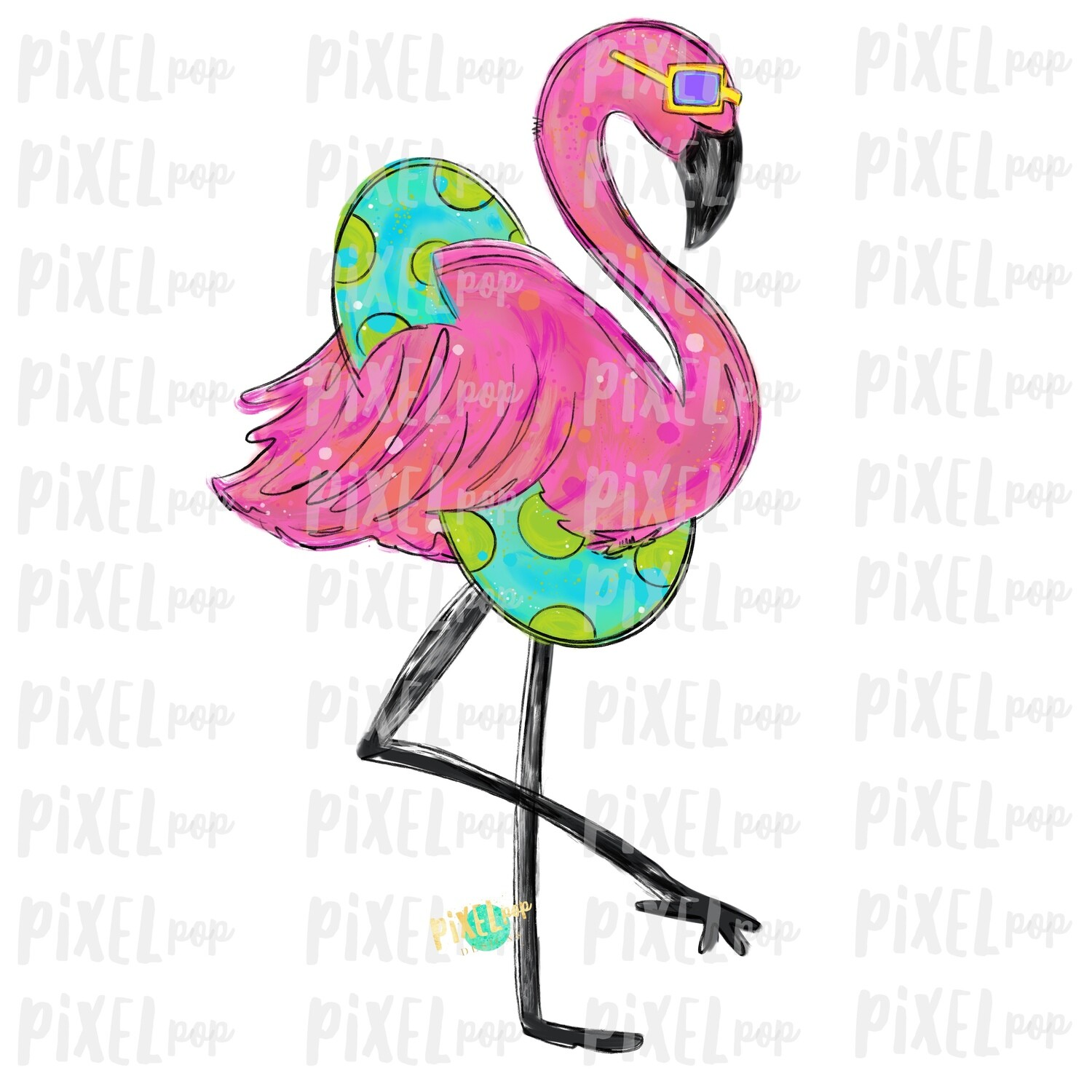 Flamingo with Pool Float PNG | Pink Flamingo Sublimation | Hand Painted Bird | Watercolor Bird Digital Download | Printable Art | Clip Art