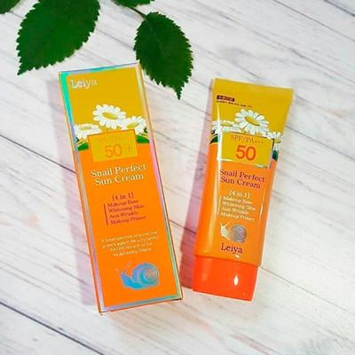 Солнцезащитный крем-праймер Leiya Snail Perfect Sun Cream 50 SPF/PA+++ (70 мл)