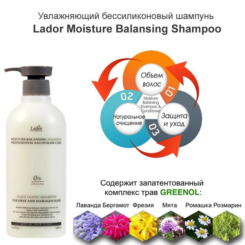Увлажняющий бессиликоновый шампунь Lador Moisture Balansing Shampoo (530 мл)
