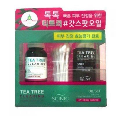 Набор Масло+Тонер на основе чайного дерева Scinic Tea Tree Clearing Oil Set (18мл+25мл+30шт)