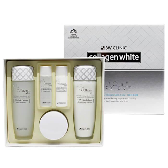 Набор для комплексного ухода за кожей лица с эффектом осветления 3W Clinic Collagen Whitening Skin Care Items 3 Set