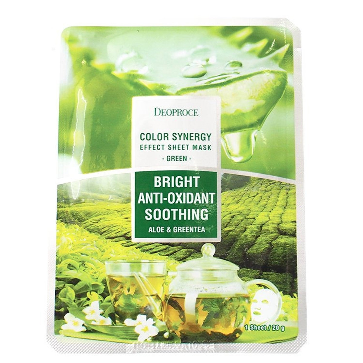 Тканевая маска на основе экстрактов алое и зеленого чая Deoproce color synergy effect sheet mask Green 20г