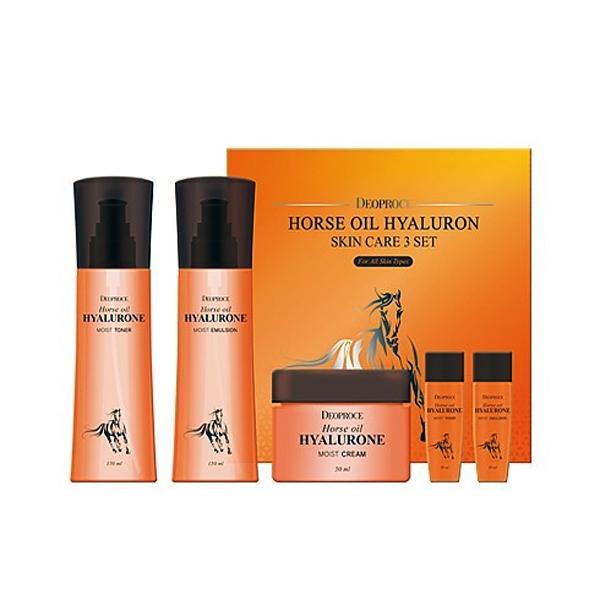 Набор уходовый с гиалуроновой кислотой и лошадиным жиром Deoproce Horse Oil Hyalurone Skin care 3 set