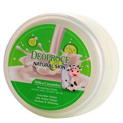 Питательный крем для лица и тела с огурцом и молоком Deoproce Natural Skin Cucumber Nourishing (100 мл)