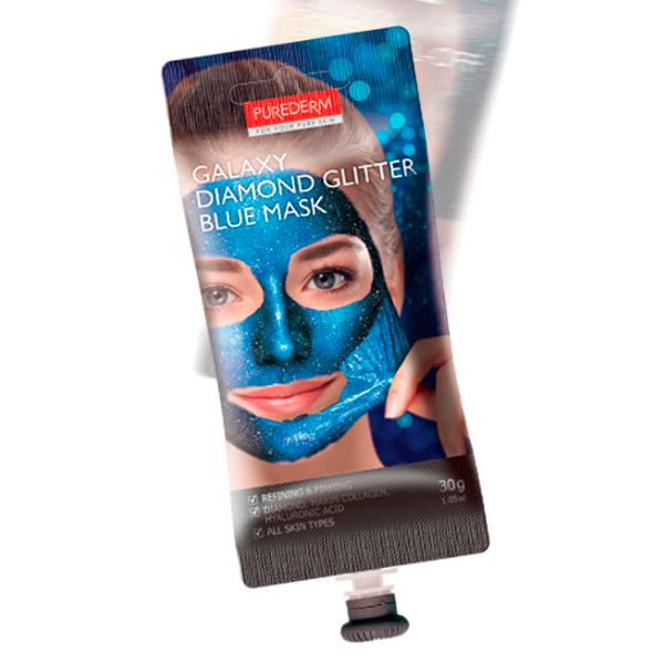 Укрепляющая маска-пленка-пилинг Purederm Galaxy Diamond Flitter Blue Mask (30 мл)