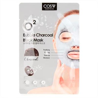 Тканевая кислородная маска c углем COS.W O2 Bubble Charcoal Black Mask (20 мл)