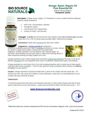 Orange Sweet, 5X Organic Pure Essential Oil Product Bulletin