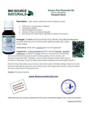 Amyris Pure Essential Oil Product Bulletin