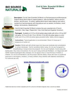 Cool & Calm Essential Oil Blend Product Bulletin