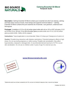 Calming Essential Oil Blend Product Bulletin