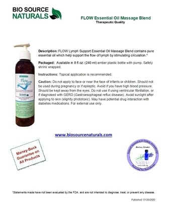FLOW - Lymph Support Essential Oil Massage Blend    Pump Product Bulletin