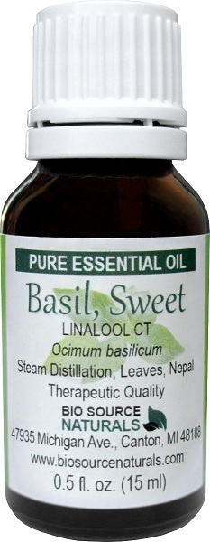 Basil (Sweet) Pure Essential Oil - Linalool CT with Analysis Report 00074