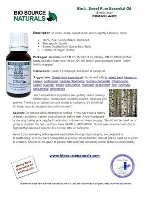 Birch Pure Essential Oil Product Bulletin