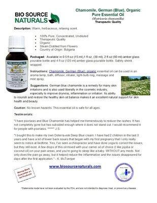 Blue (German) Chamomile Pure Essential Oil - Organic Product Bulletin