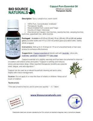 Cajeput Pure Essential Oil Product Bulletin