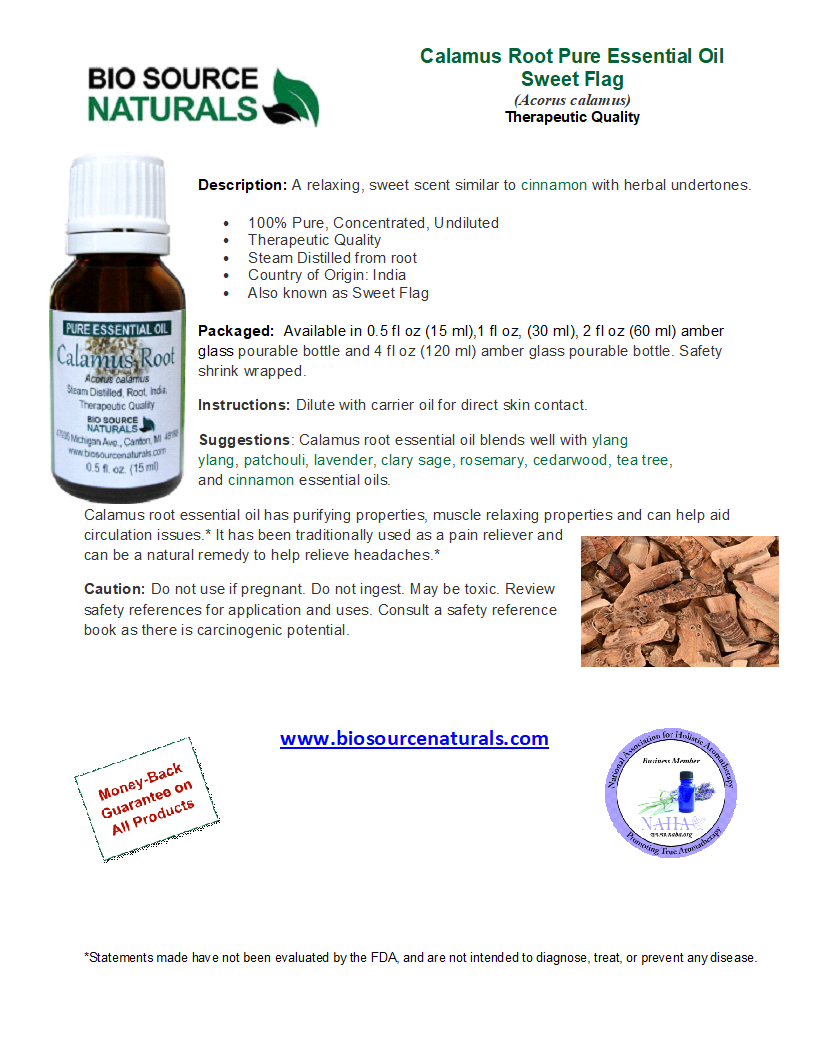 Calamus Root Pure Essential Oil - Sweet Flag - Analysis Report