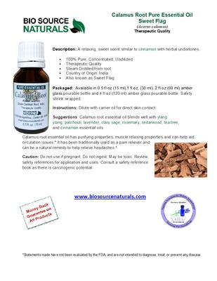 Calamus Root Pure Essential Oil - Sweet Flag - Product Bulletin