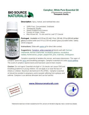 Camphor, White Pure Essential Oil - Ho Leaf CT Cineole - Product Bulletin