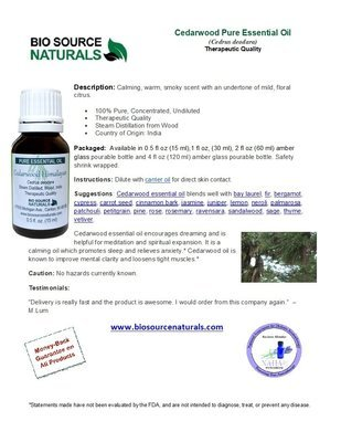 Cedarwood Pure Essential Oil  - Himalayan - Product Bulletin