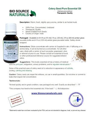 Celery Seed Pure Essential Oil Product Bulletin