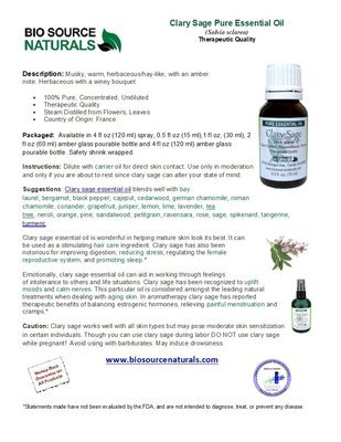 Clary Sage Pure Essential Oil Product Bulletin