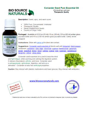Coriander Seed Pure Essential Oil Product Bulletin