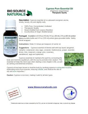 Cypress Pure Essential Oil Product Bulletin