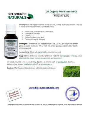 Dill Pure Essential Oil Organic Product Bulletin
