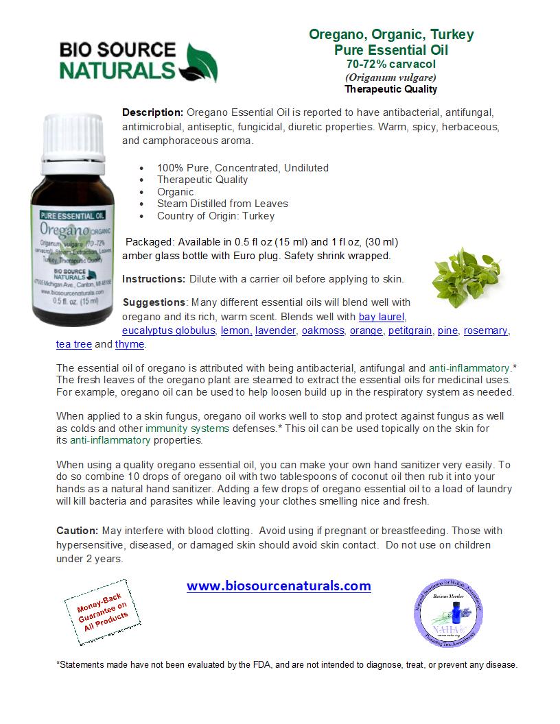 Oregano Pure Essential Oil -  Organic - Turkey GC Report