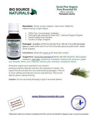 (Scots) Pine Pure Essential Oil -  Organic, Bulgaria - Product Bulletin