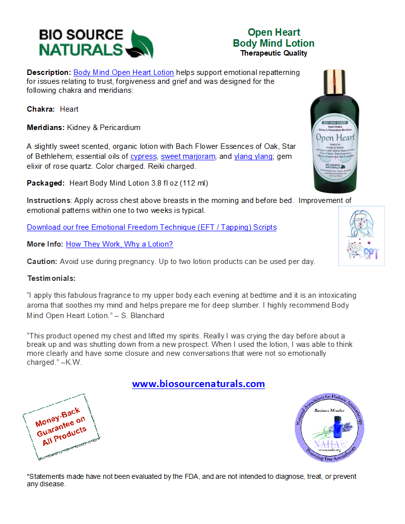 Open Heart Body-Mind Lotion Product Bulletin