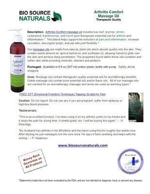 Arthritis Comfort Massage Oil Product Bulletin