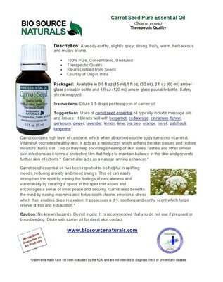 Carrot Seed Pure Essential Oil Product Bulletin