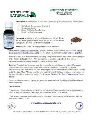 Allspice Pure Essential Oil Product Bulletin